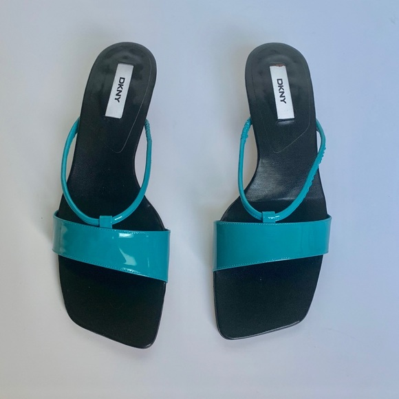 Dkny Shoes - DKNY Turquoise Patent Leather Kitten Heel Sandals